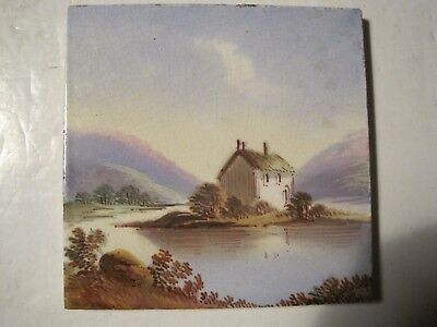 """Antique Victorian 5 1/8"""" Sherwin & Cotton Hand-Painted Tile - House On Island"""