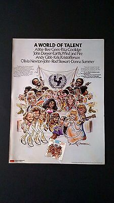 "Abba,bee Gees & More ""unicef Concert"" (1979) Rare Original Print Promo Poster Ad"