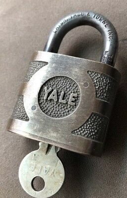 Antique Vintage Early Yale & Towne Brass Bronze Pad Lock Padlock w/ Working Key