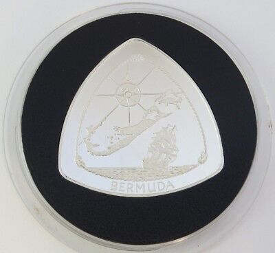 1996 Bermuda Triangle .925 Sterling Silver Proof $3 Coin, Only 5000 Minted KM#92