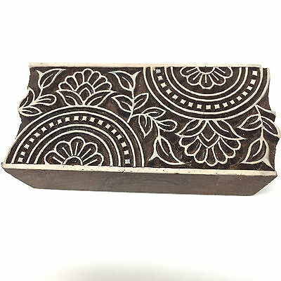 New Large Beautiful Hand Crafted Customized Flower Design Wooden Block Stamp