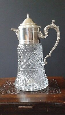 Crystal Carafe / Pitcher – Silver plated lid, made in Italy, Lavorazione a Mano