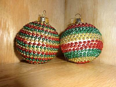 "Handmade Gold  Red Green Beaded Christmas Tree Ornament Set 2"" Holiday"