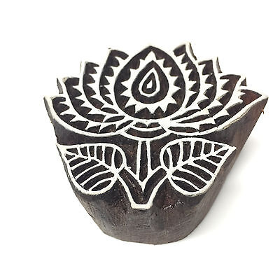 New  Beautiful Hand Crafted Customized Lotus Flower Design Wooden Block Stamp