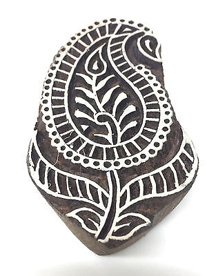 New  Beautiful Hand Crafted Customized Paisley Design Wooden Block Stamp