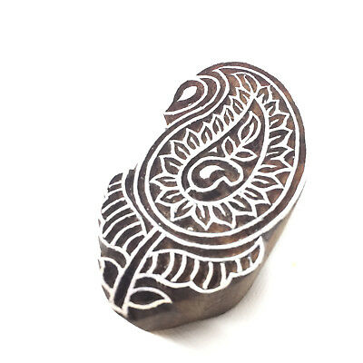 New  Beautiful Hand Crafted Customized Mehendi Paisley Wooden Block Stamp
