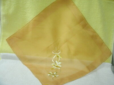HANKIE * Daffodils* Embroidered on Amber Solid Cotton-- Vintage-New Original