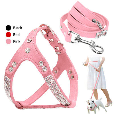 Bling Rhinestone Pet Dog Strap Harness & Leash Soft Suede Leathe for Chihuahua