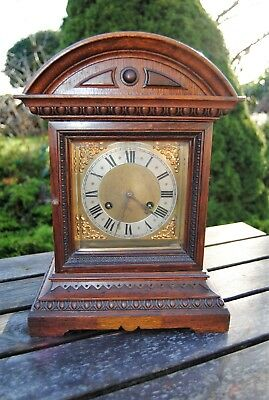 Lovely Antique Clock Solid Carved Wood Surround