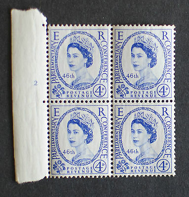 GB 1957 4d 46th Inter-Parliamentary Union Conference MNH Block of 4