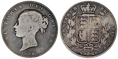 1845 Victoria halfcrown silver coin of Great Britain