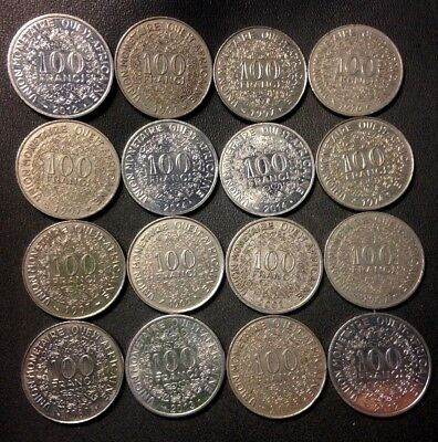 Old French West Africa Coin Lot - 100 Francs - 16 Uncommon Coins - FREE SHIPPING