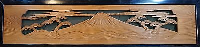 Very Fine Large Size Japanese Antique Wall Carving Display TransomePanel Mt.Fuji
