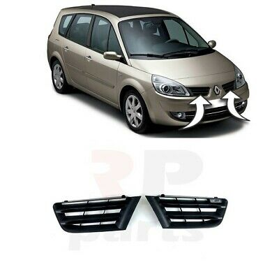 New Renault Scenic 06-09 Pair Front Bumper Top Upper Grill Black Right + Left