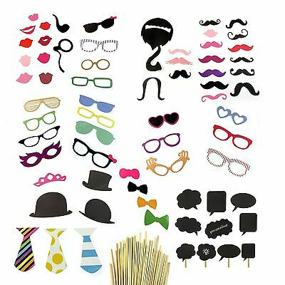 68pcs Selfie Photo Booth Props on a Stick Chalk Board Wedding Birthday Party UK