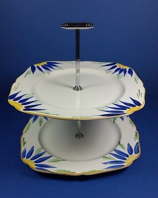 Original Vintage Art Deco Two Tier Cake Plate With Chrome Handle