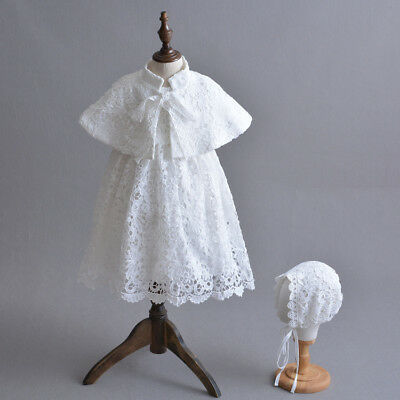 Vintage Baby Lace Baptism Gown Embroidery Christening Dress with Cloak 3-24 Mon