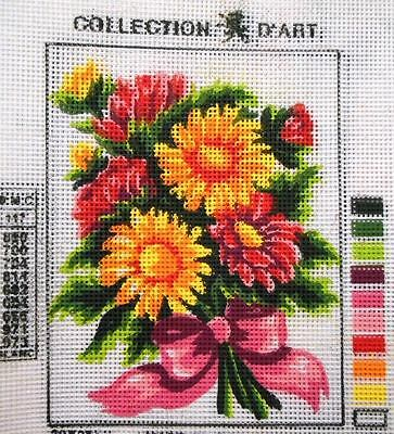 FLOWER BOUQUET (PINK, RED, GOLD) - Tapestry to Stitch (NEW) by Collection D'Art
