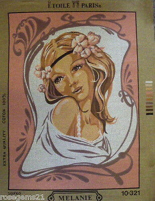 Beautiful Woman (Whites & Pinks) -TAPESTRY/NEEDLEPOINT CANVAS (Paris-New)