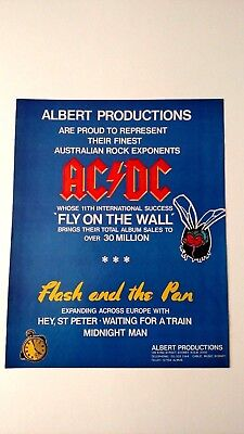 "Ac/dc  ""fly On The Wall""  Rare Original Print Promo Poster Ad"