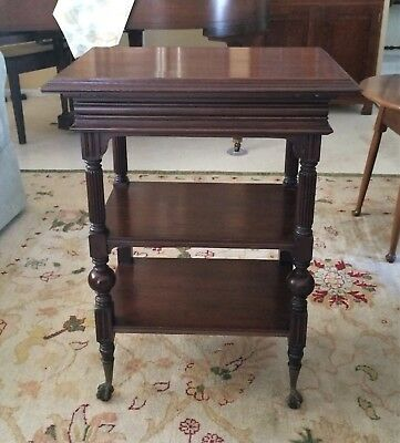 Antique Walnut Ball & Claw Lectern Podium Side Table Shelf 1800's