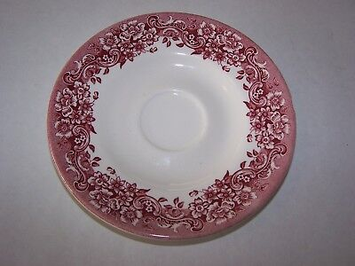 Staffordshire Engraving 17th Century Cup Saucer (Red floral)