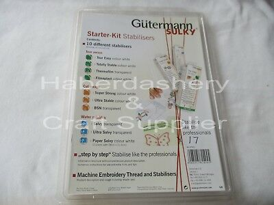 Gutermann Starter Kit Sulky *10 Assorted Stabilisers*Quilting