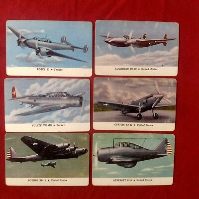 Lot of 6 WW2 Airforce Trading Card CARD-O-CHEWING GUM Series B AEROPLANE