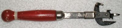 Vintage A&J Can Bottle Opener Red/White Wood Handle USA Stainless