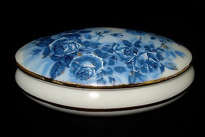 LIMOGES HEAVEN Porcelain Oval Trinket Box Blue Floral 4 1/4\