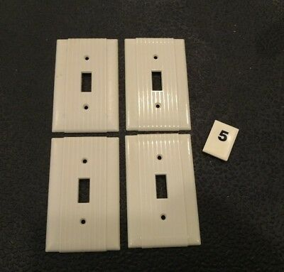 4 Ivory Vtg Bakelite Ribbed Deco Single Gang Uniline Switch Plate Covers B5