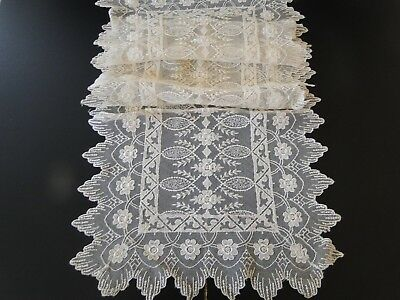 Antique Lace- Two Lace Table Runners W/scalloped Edges