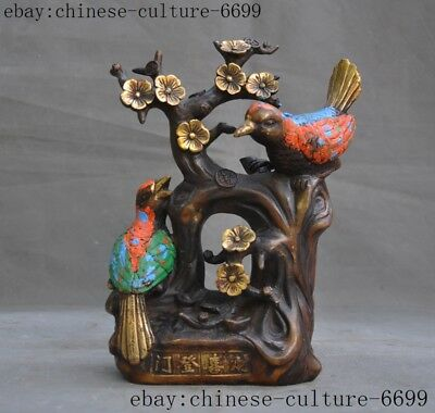 old China bronze Cloisonne Feng shui auspicious Magpies Plum flower Text statue