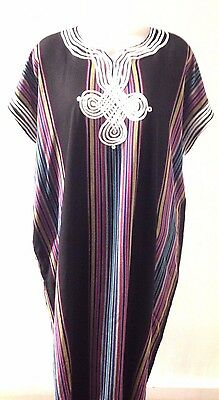 Moroccan Women Arabian Beach Summer/ wedding Caftan Dress Abaya Linen  BLK- New
