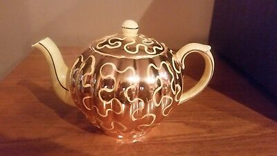 Antique Vtg State Gibsons Made In England Pumpkin Shaped Tea Pot With Gold Gilt