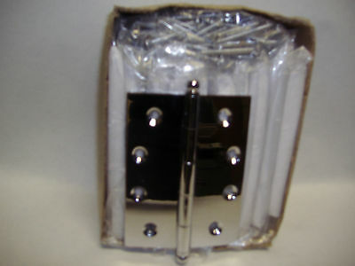 10X BUTT DOOR HINGES SOLID BRASS CHROME PLATED 100X75mm BALL TIP  BUTT HINGE
