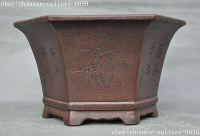 old China Yixing Zisha pottery bamboo flowers Text Flower pot Bonsai Potted pots