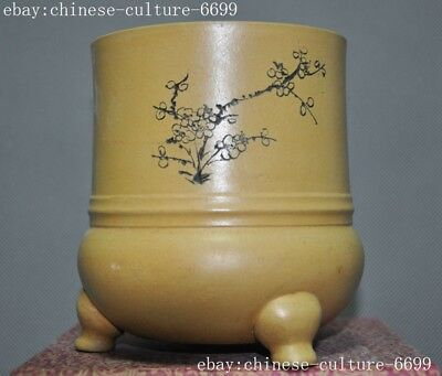 """5""""Old Chinese Yixing Zisha pottery carving Plum flower pot Bonsai Potted pots"""