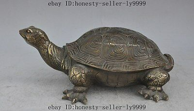 """12""""old chinese fengshui bronze turtle Tortoise Longevity lucky auspicious statue"""