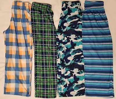 Boys Pajama Pants Bottoms Set 4 Pairs PJ's Cat & Jack Comfortable Camo Stripes