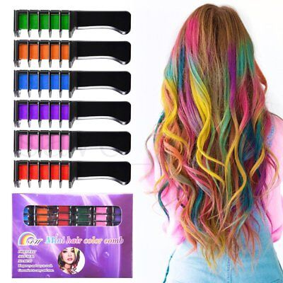 6PCS/SET Temporary Disposable Salon Use Dye Comb Crayons For Hair Color Chalk KS