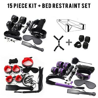 15 piece Adult Bondage Kit with Bed Restraints role play valentines day fetish