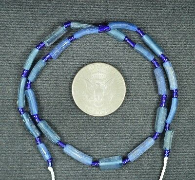 Ancient Roman Glass Beads 1 Medium Strand Aqua And Green 100 -200 Bc 816