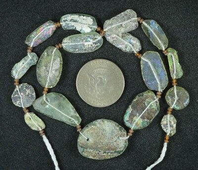 Ancient Roman Glass Beads 1 Medium Strand Aqua And Green 100 -200 Bc 811