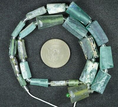 Ancient Roman Glass Beads 1 Medium Strand Aqua And Green 100 -200 Bc 817