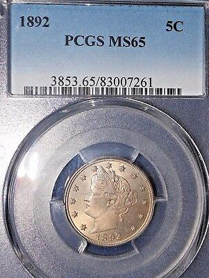 1892 5C Liberty Nickel PCGS MS65  ~NICE COLOR OBVERSE and REVERSE~