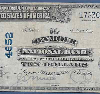 In  1902 $10  ♚♚Seymour, Indiana♚♚    Pmg Very Fine 25    Very Hard To Find!!!