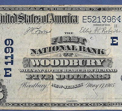 Nj  1902 $5  Date-Back ♚♚Woodbury,new Jersey♚♚   3 Known