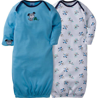 Gerber Baby Boys 2 Pack Lap Shoulder Gowns Size 0-6 Month NEW Adorable Puppy