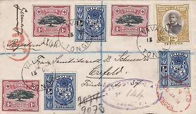1901: Tonga-Tabu to Crefeld/Germany, registered postcard, Toga